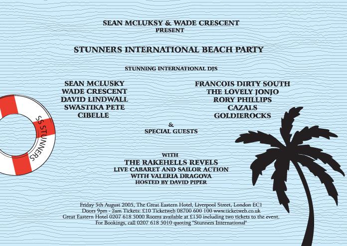 Stunners International Beach Party Flyer Back