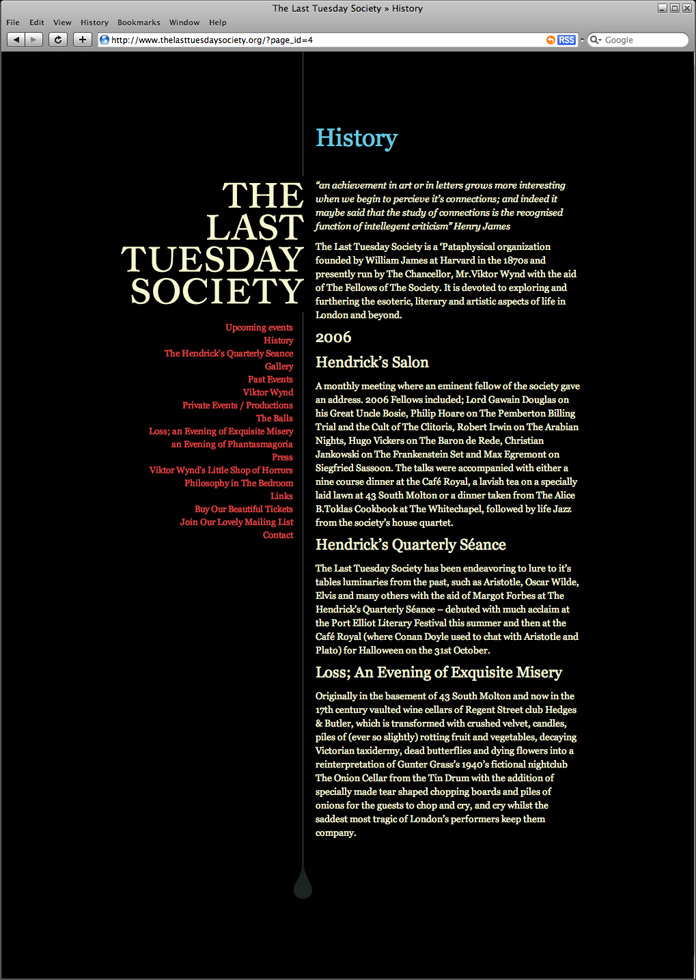 The Last Tuesday Society Website